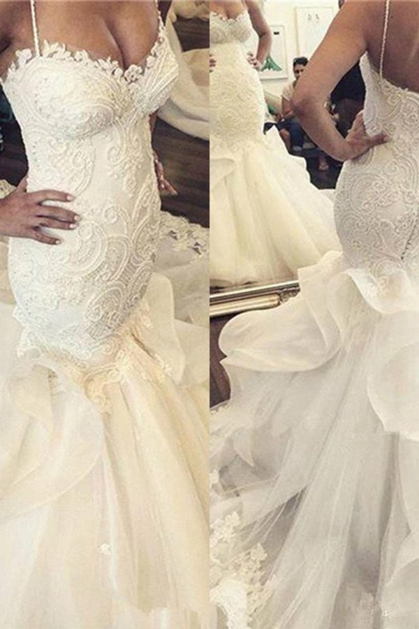 Gorgeous Spaghetti Straps Mermaid/Trumpet Wedding Dresses With PNLTQNPG