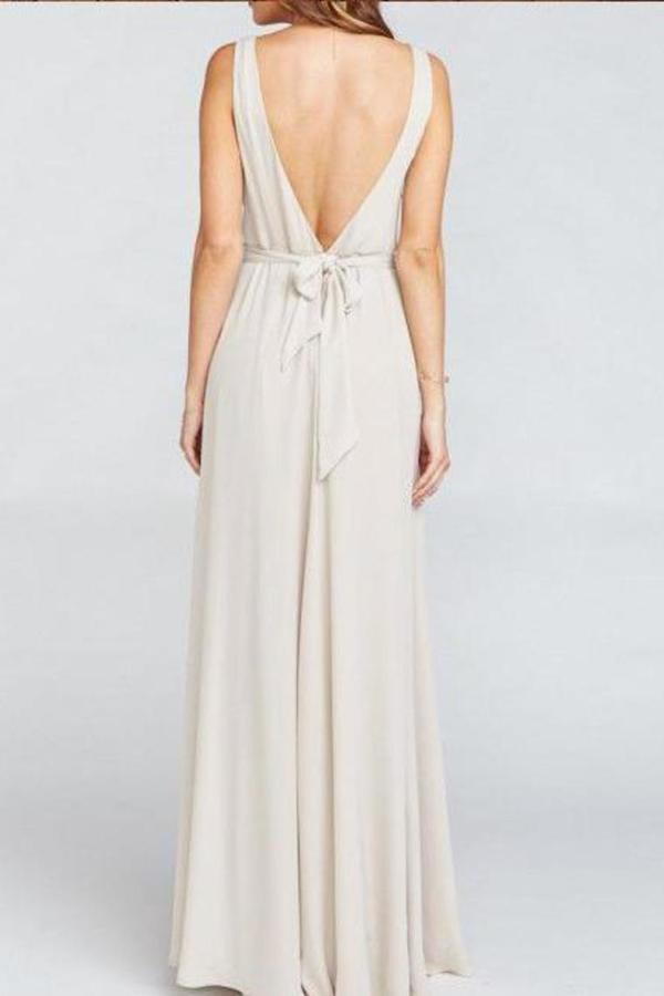 Simple Elegant Long A-Line Chiffon Open Back Bridesmaid Dresses P216DPK2