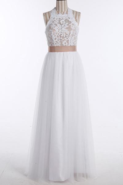 Simple A-Line White Open Back Jewel Sleeveless Floor-Length Lace Top Halter Wedding Dress