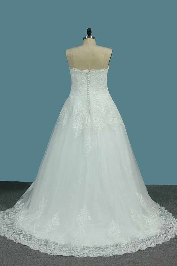 Tulle A Line Sweetheart Wedding Dresses PQM69MTM