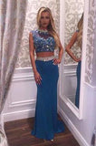 Two Pieces Beading Charming Open Back Blue High Neck Mermaid Long Prom Dresses