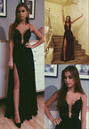 A Line Black Beads Chiffon Prom Dresses with Appliques Split Long Evening STI20380