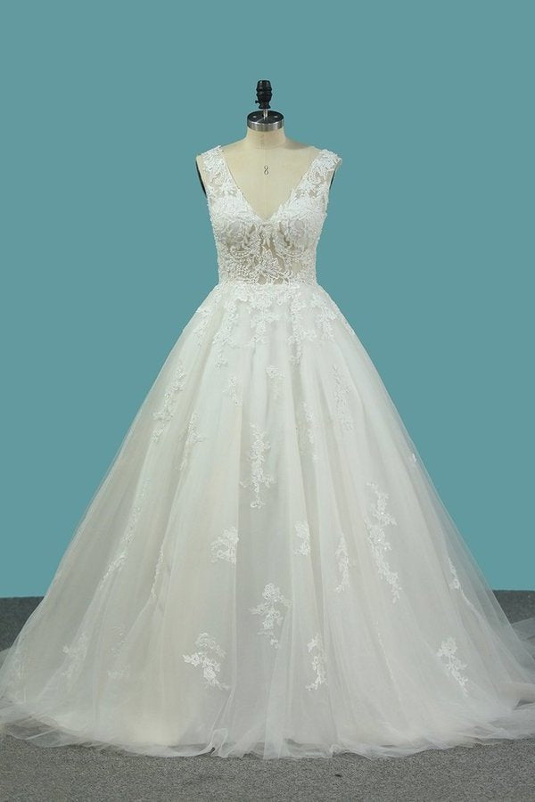 Tulle Wedding Dresses V Neck A Line With Applique PGP8APCC