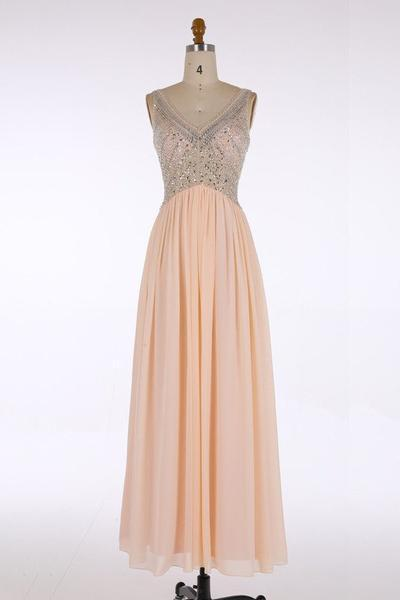 V-Neck Prom Dresses Long Prom Dresses Chiffon Evening