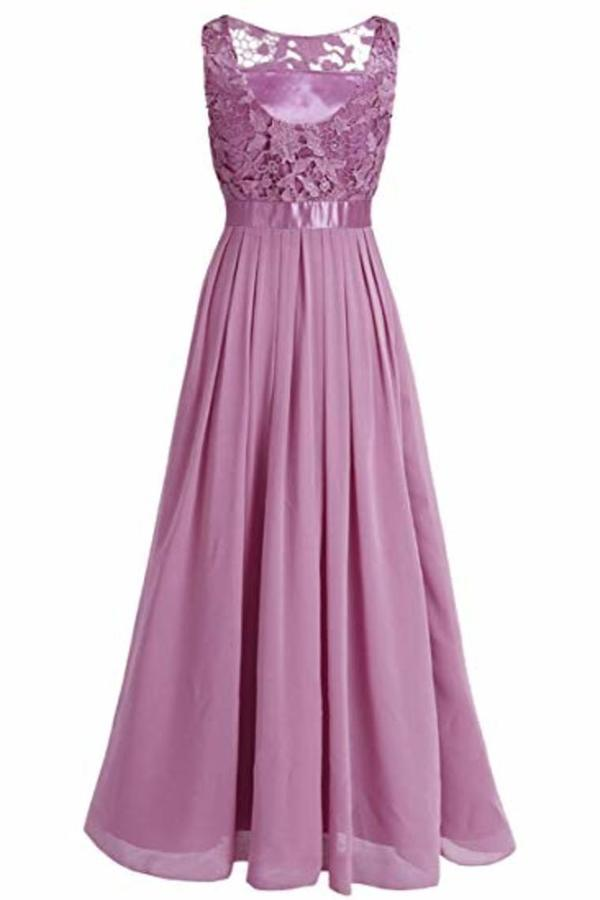 Wedding Bridesmaid Dress Chiffon Elegant Floor Length P8CEZG2S