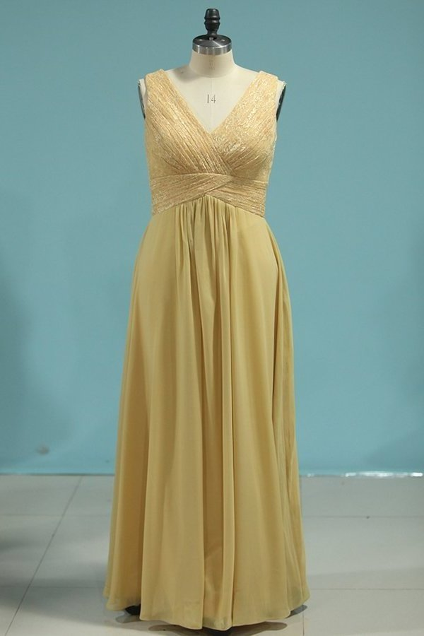 Chiffon V Neck A Line With Ruffles Floor Length PH417S6P