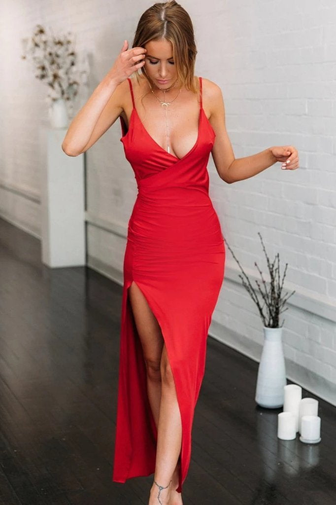 Simple Spaghetti Straps Red Mermaid V Neck Prom Dress with High Slit, Open Back Dance Dress STI15401