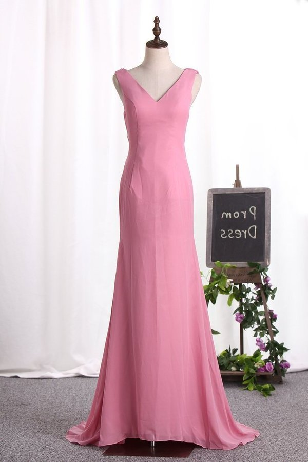 Sexy Open Back Bridesmaid Dresses V Neck P98ZL6SJ