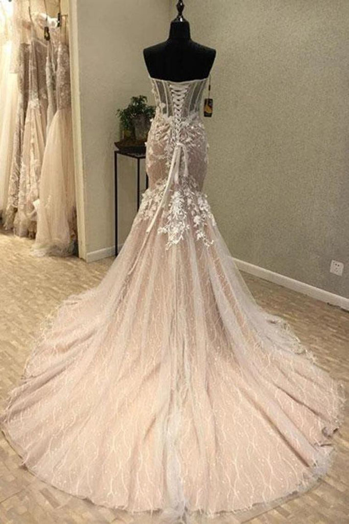 Gorgeous Sweetheart Mermaid Lace Appliqued Wedding Dresses Strapless Bridal STIPJ18HD74