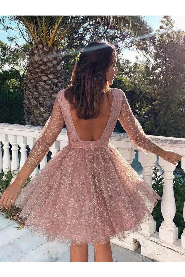 Sequins Long Sleeve Short Homecoming Dresses Backless P7SB2KB2