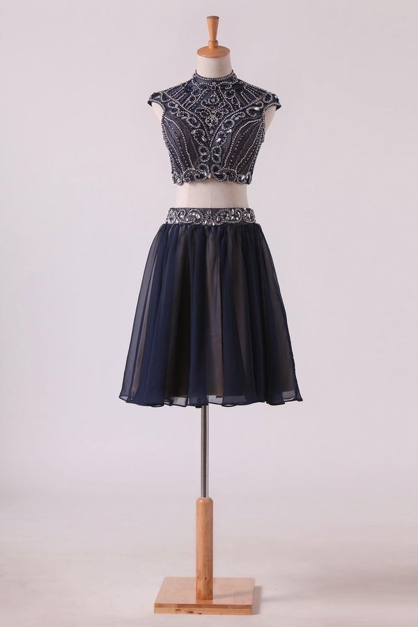 Two-Piece High Neck A Line Short/Mini Homecoming Dresses Tulle PTJ4EH2D