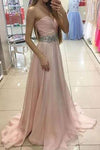 Sweetheart Charming Strapless Handmade A-Line Beads Formal Prom Dresses