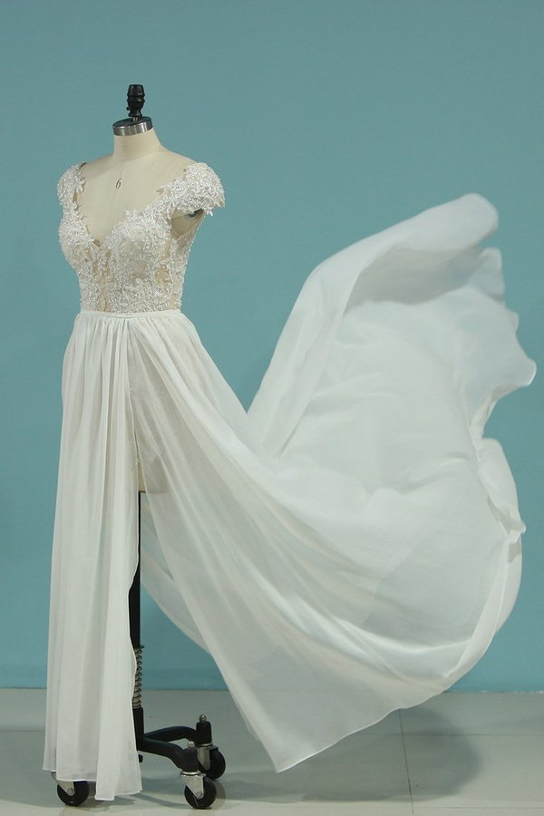 Beach Wedding Dresses A-Line V-Neck Chiffon Full PNCEBN81