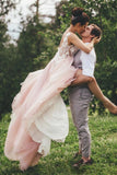Sheer Round Neck Pink Wedding Dresses Backless Bridal Gown With Lace STI20469