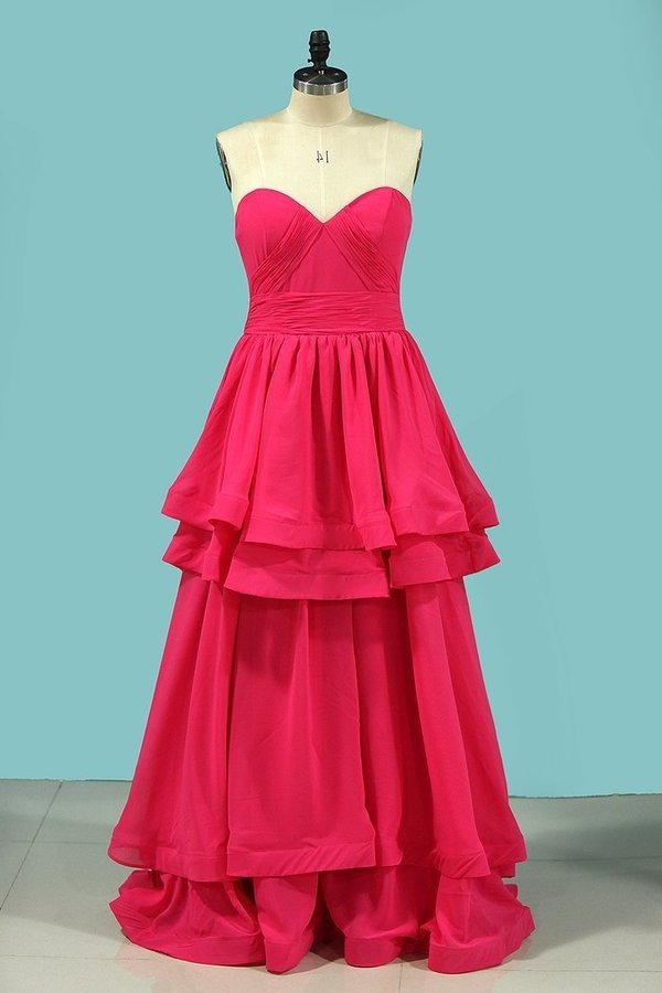 A Line Sweetheart Prom Dresses Ruched PS85PXTX