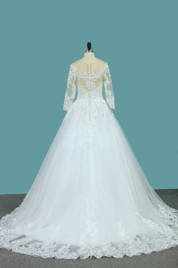 A Line 3/4 Length Sleeves Tulle Scoop Wedding Dresses P49T4DGE