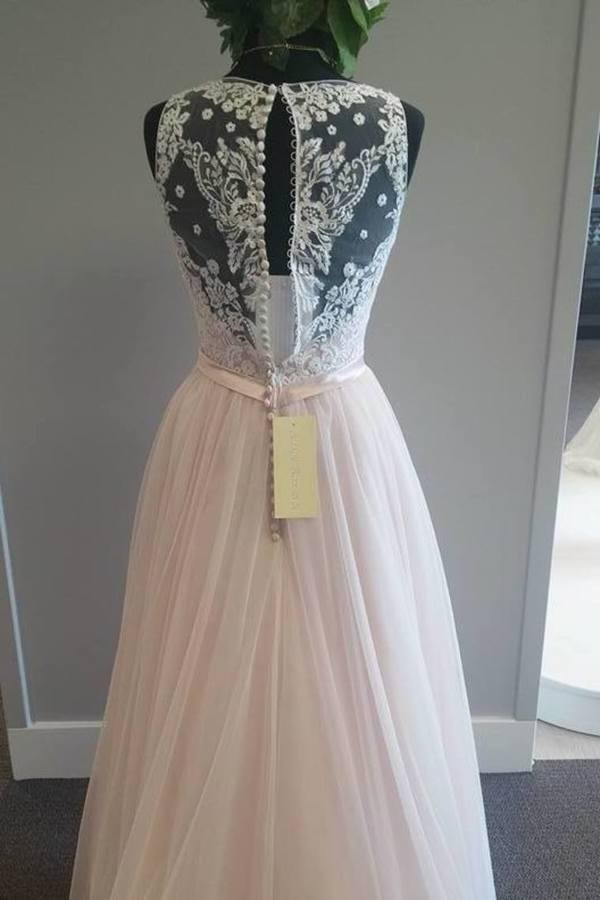 Fantastic Tulle V Neck With Appliques And Sash A Line PNZLFXZ5