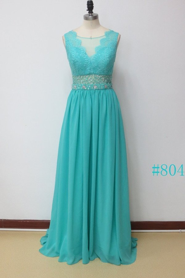 Scoop A Line Exquisite Chiffon Beading Prom Dresses PHCS9FEX