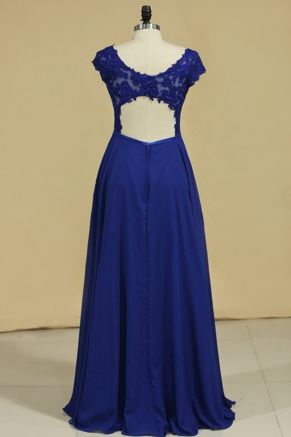 V Neck Prom Dresses Cap Sleeves Chiffon With Applique PEENDYB8
