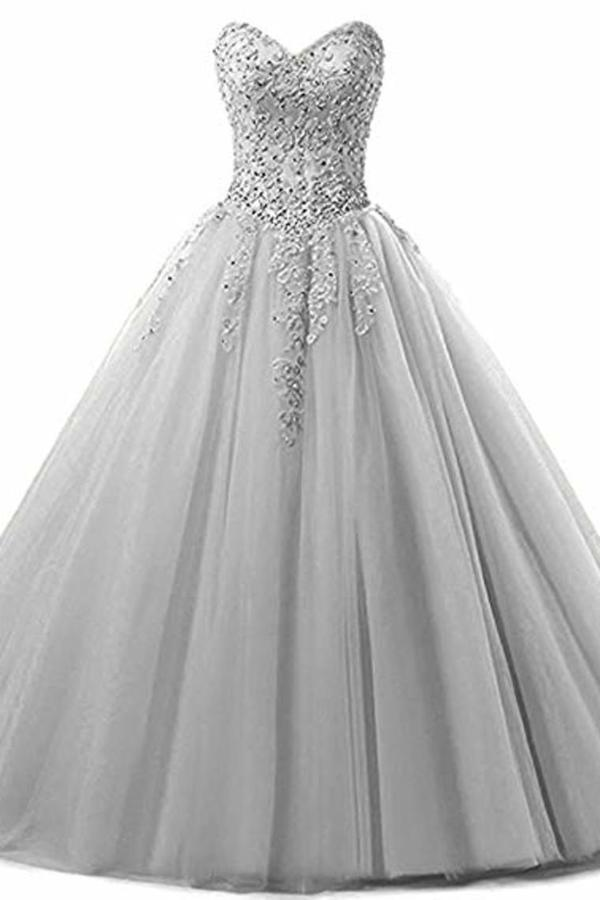 Tulle Beading Sweetheart Neck A Line Sleeveless Wedding Bridesmaid Long Evening Festive PCPP49NC