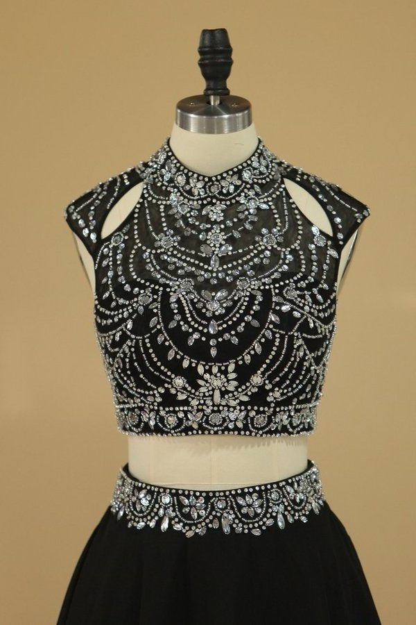 Homecoming Dresses High Neck Two Pieces Beaded Bodice PRFEAGKN