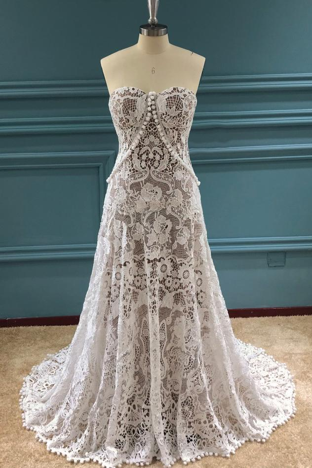 Elegant A Line Lace Appliques Sweetheart Strapless Wedding Dresses, Bridal STI15636