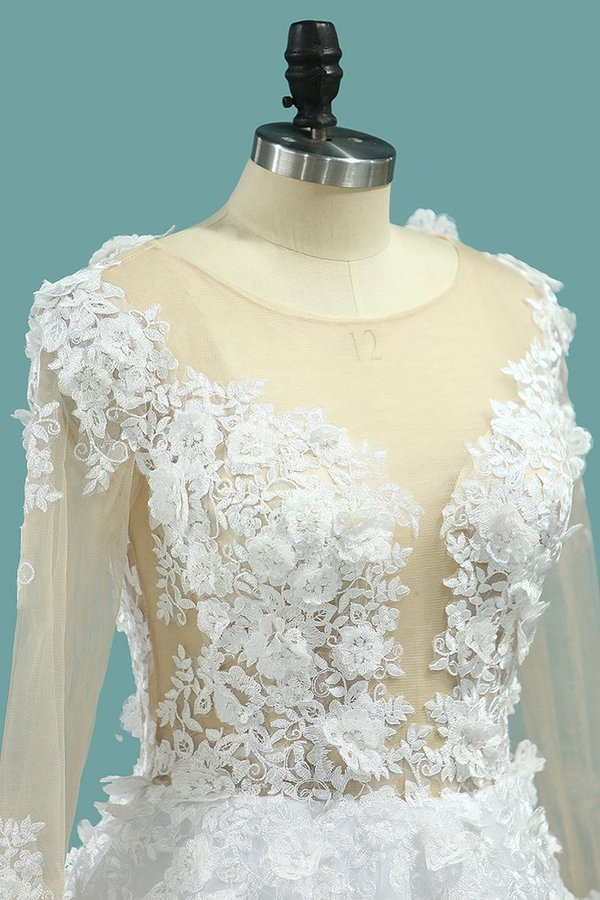 Gorgeous Wedding Dresses A-Line Scoop Long Sleeves Tulle With Applique PZDSNTQL