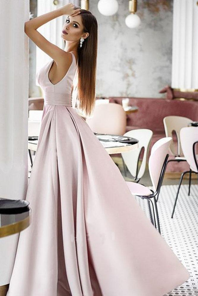 Vintage A Line Pink Satin Long Evening Dresses, Simple Dance Formal Dresses STI15541