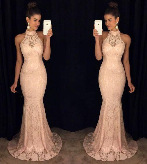 New Elegant Round Neck Sequin Mermaid Chiffon Long with Slit Beads Prom Dresses