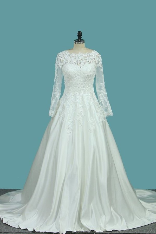 A Line Scoop Satin Wedding Dresses With Applique PKCHH69B