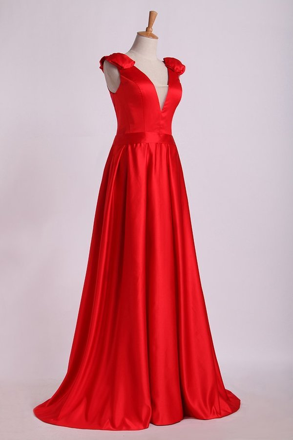 Evening Dress V-Neck Bubble Shoulder A-Line Satin PZGP88M3