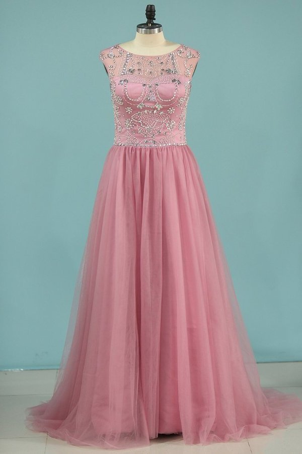 Scoop Tulle With Beading Prom Dresses A PBET257T