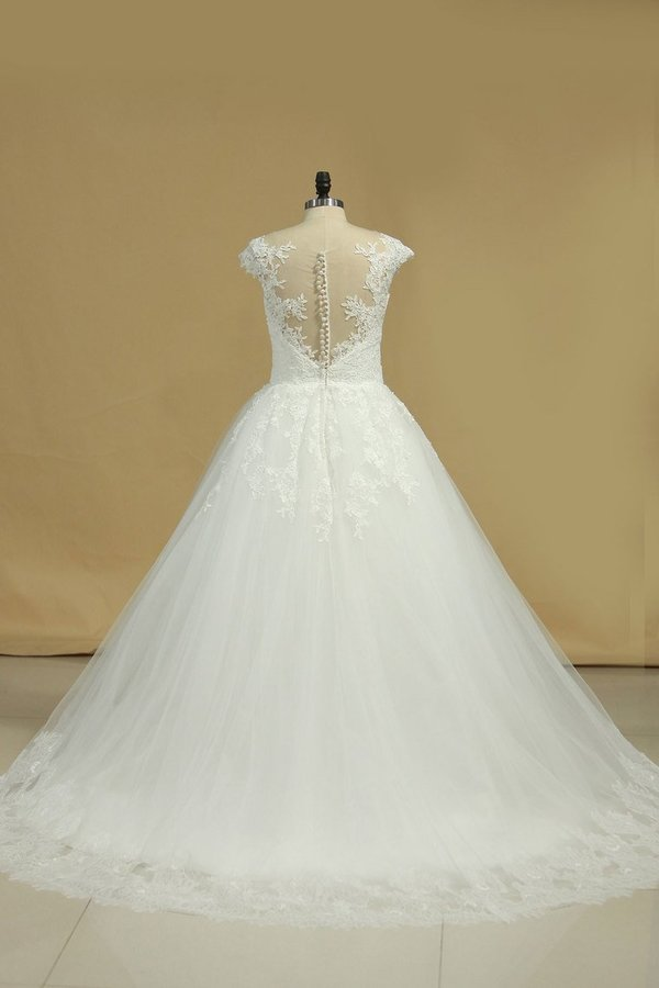 Scoop Wedding Dresses Tulle With Applique Court PSB3KDG1