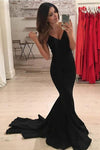 Mermaid V-Neck Criss-Cross Straps Spaghetti Straps Sweep Train Black Satin Prom Dresses