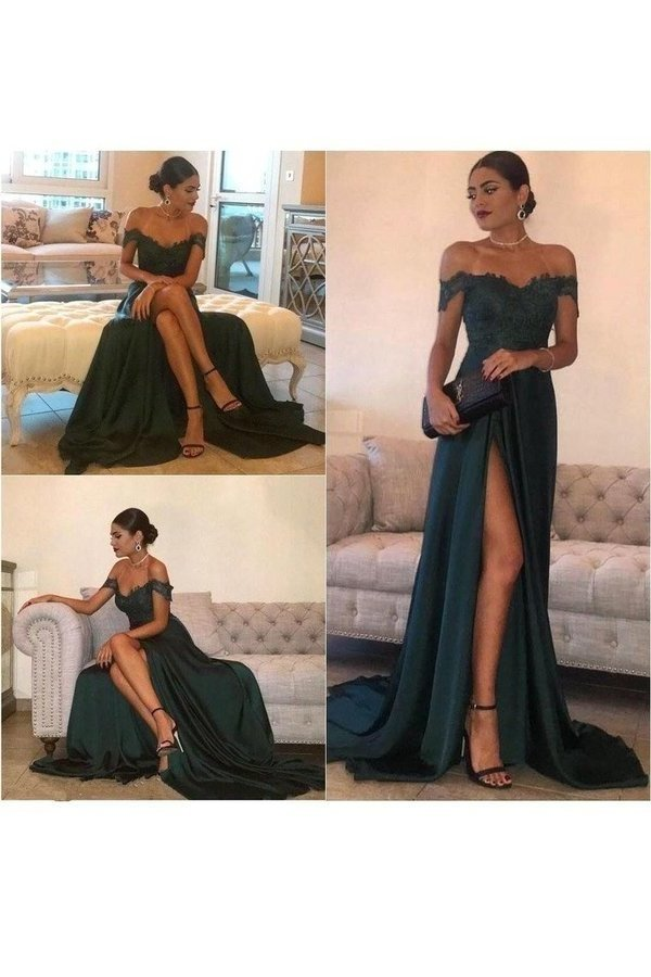 A Line Off The Shoulder Prom Dresses Stretch Satin With Applique PDNLJ6XB