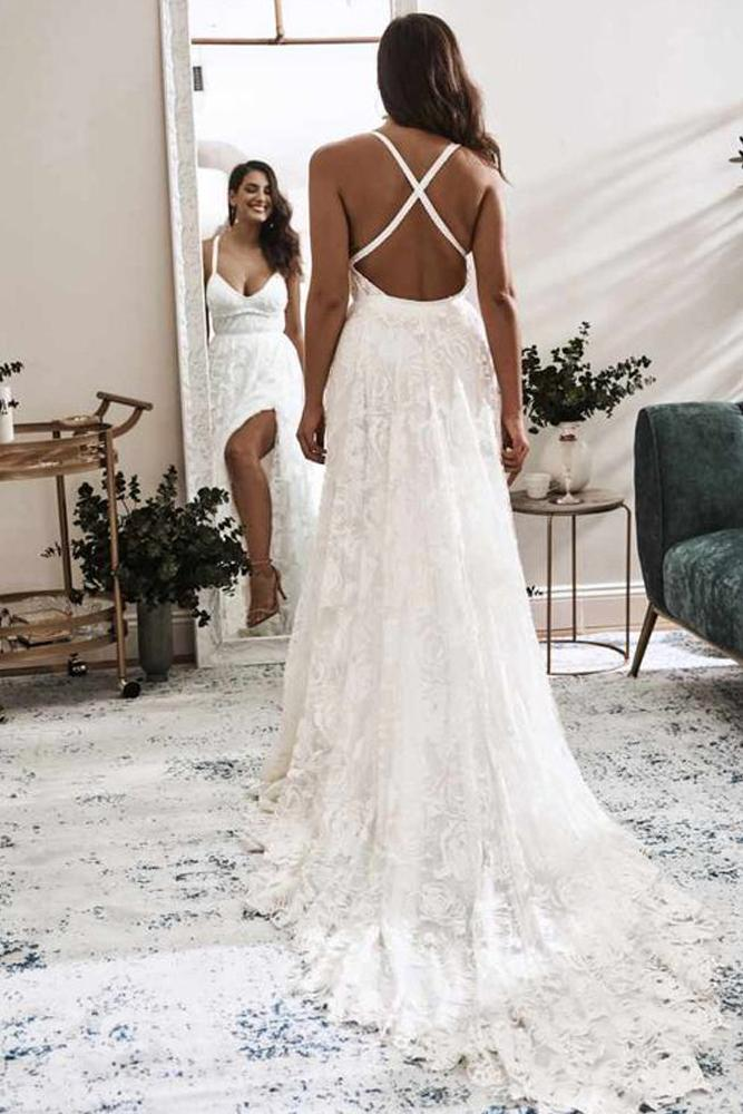 Elegant A Line V Neck Lace Ivory Beach Wedding Dresses with Slit, Bridal Gowns STI15579