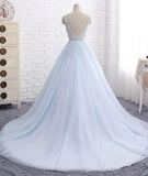 Sexy Ball Gown Tulle Sky Blue V-neck Appliques Brush Train Long Sleeveless Prom Dresses