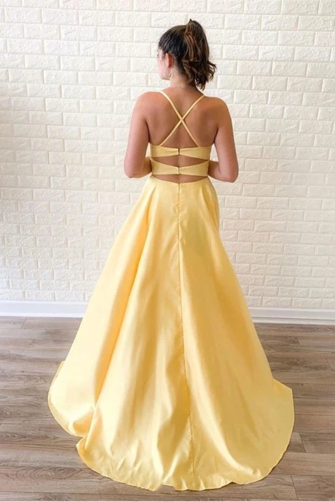 Simple Sleeveless Split Long Prom Dresses Cheap Sweep Train Evening STIP596T9CJ
