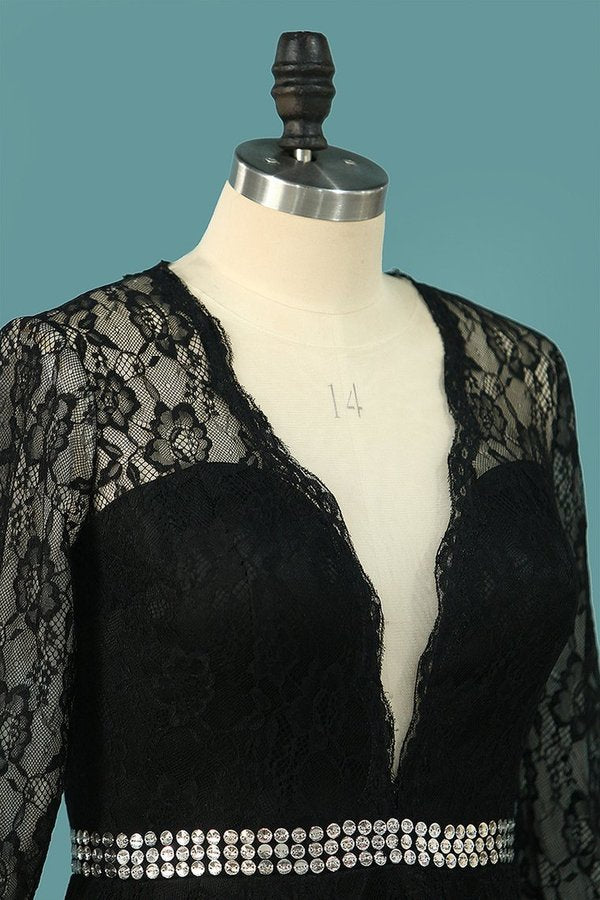 2020 Scoop Long Sleeves Lace Cocktail PZS1LC79
