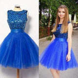 Royal Blue Short Tulle Sleeveless Prom Dress A-line Prom Dresses prom dress for girls