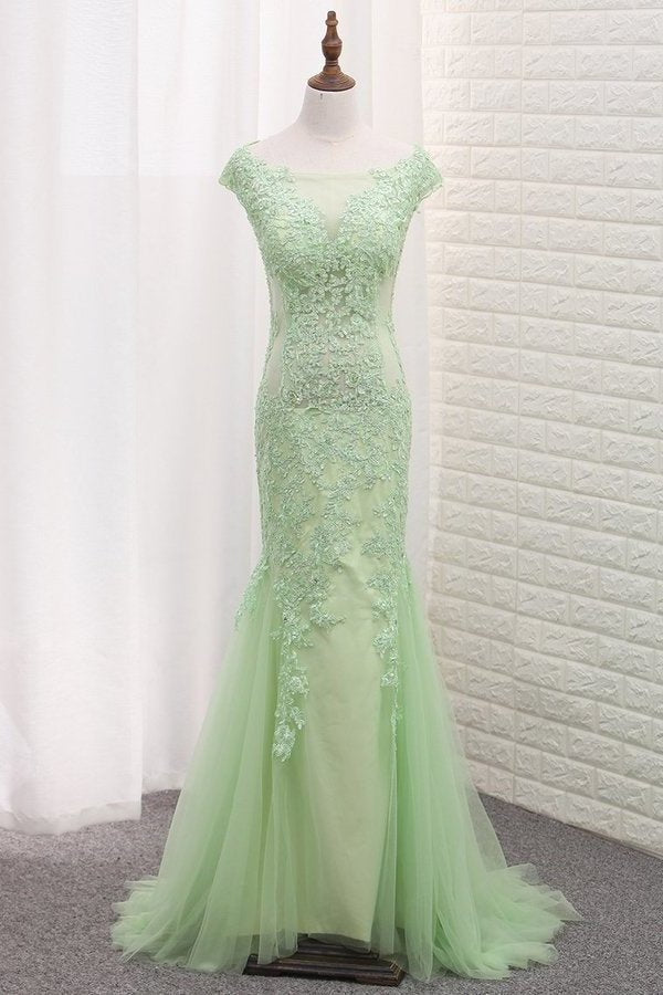Tulle Scoop Mermaid Open Back Prom Dresses With P7ZTP632