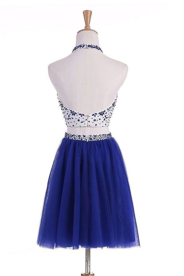Two-Piece Halter Homecoming Dresses A Line Tulle P7S88TBF