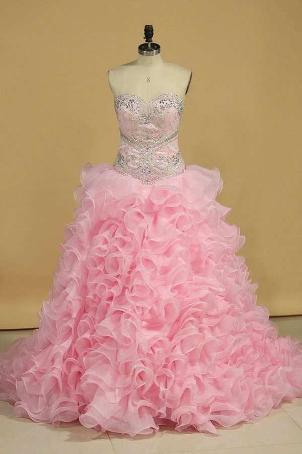 Sweetheart With Beads And Applique Quinceanera Dresses Organza P6DPYJB5
