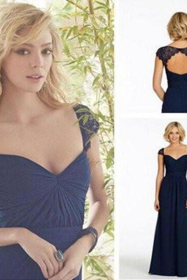 Newest Navy Blue Chiffon Lace Long Prom Dresses P8KD1CRY