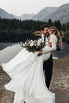 Long Sleeve Two Pieces Lace Round Neck Beach Wedding Dresses Chiffon Boho Bridal Gowns STI14979