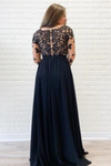 Long Sleeves Black Formal Dress High Slit Sexy Chiffon Long Prom Dress STIPGNANEC5