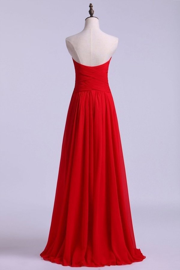 Simple Prom Dresses Sweetheart A Line Floor Length Chiffon PJPJMKSC
