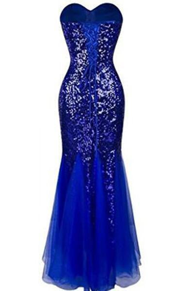 Sweetheart Mermaid Sequined Long Prom Dresses
