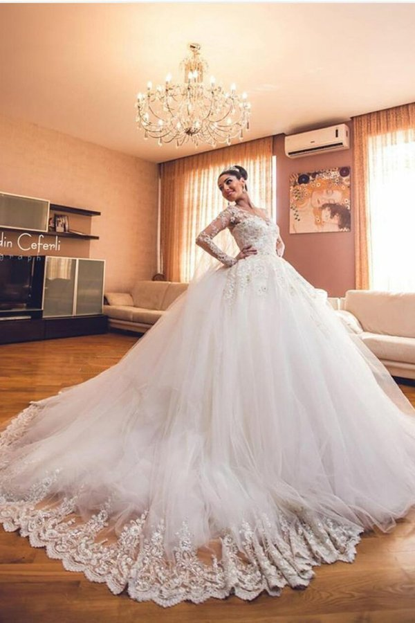 Wedding Dresses Scoop Long Sleeves A Line Tulle With Applique P72ALREB