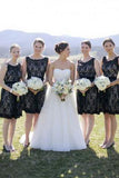 Simple Hot Scoop Open Back Lace Black Short Bridesmaid Dresses